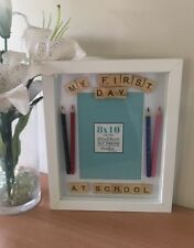 Personlised My First Day at School Scrabble Letter Frame with pencils