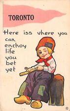 """Enjoy Life"" in Toronto Ontario~You Bet~Boy Whittles~Carves Wood~1915 Pennant PC"