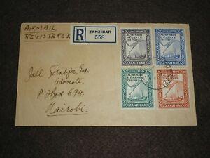1945 ZANZIBAR Stamps AIR MAIL COVER ZANZIBAR-NAIROBI WW2 Period CLEAR BACK Pmks