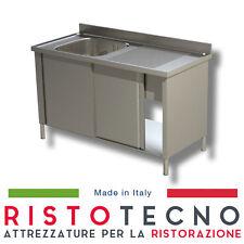 Lavatoio Lavello ARMADIATO inox 1 vasca + sgocciolatoio DESTRO. Cm. 130x60x85H.