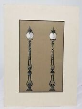 Antique Fine Watercolor Architectural Drawing Painting Lamps Lighting
