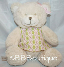 "Cocalo TEDDY BEAR 8"" Ivory Plush Baby Girl Rattle Pink Green Dress Stuffed Bow"