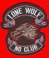 LONE WOLF NO CLUB Patch Aufnäher  NEU