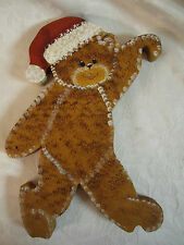 Teddy Bear American Folk Art Handcrafted & Painted Wood cute bear with Santa hat