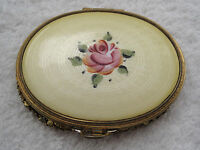 Antique Yellow Guilloche Enamel Compact with Pink Rose Stunning