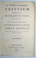 OVIDIO NASONE - ediz. 1826 - tristium - epistolarum - napoli - pergamena