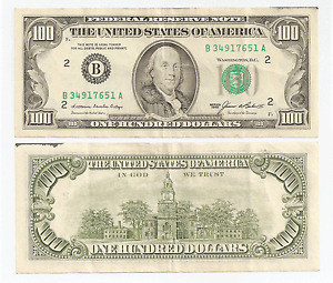 1985 ~  $100  Federal Reserve Note ~ New York ~ B34917651