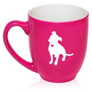 16 oz Bistro Mug Ceramic Coffee Glass Tea Cup Cute Pitbull with Heart