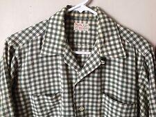 vtg 60s Hathaway Viyella green PLAID shirt L loop collar wool blend button up