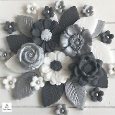 36 Silver Grey Wedding Bouquet Edible Flowers Leaves Cupcake Toppers Decorations