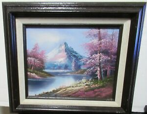 GORDON OIL ON BOARD RIVER SNOW MOUNTAIN LANDSCAPE PAINTING