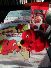 lot of  Clifford The Big Red Dog  Plush 1990 Dakin  Collar,plate, 4 books