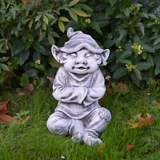 """Masssive Steinfigur Gnom """"mir ist es kalt"""" Wichtel Troll aus Steinguss frostfest"""