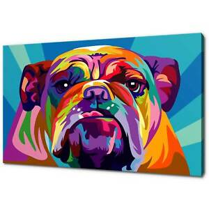 BULLDOG POP ART CANVAS PRINT PICTURE WALL ART FREE UK DELIVERY VARIETY OF SIZES