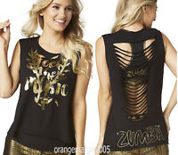 ZUMBA Feel the Music Slashed Hi-Low Tank Tee Top Gold Foil Metallic XS S M L XL