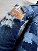 American Eagle Skinny Destroyed Ripped Womens Denim Blue Jeans size 2 x 32