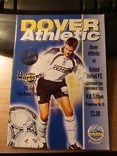 Dover Athletic V Oxford United 16-11-2002 FA Cup primo round PROGRAMMA CALCIO