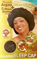 QFITT Organic Argan Olive Oil Treated X-Large Sleep Cap #822 #823 Black Assort