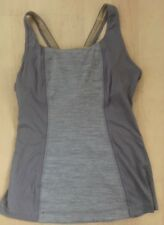 LULULEMON 2 Tone Tank Top Silver Gray Luxtreme & Mesh size 6 Spin Cycle Run Gym