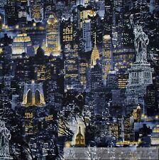 BonEful Fabric FQ Cotton Quilt VTG Black Night Gold NYC New York City Light Tree