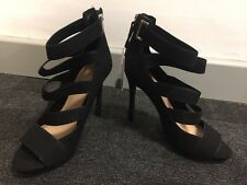 New Bershka Womens High Heels Shoes Black 37 Uk 4 Ankle Straps Strappy