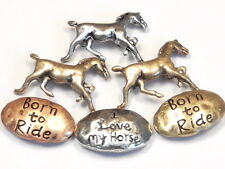 "6 - 2 HOLE SLIDER BEADS MIXED METALS HORSES ""BORN TO RIDE"" ""I LOVE MY HORSE"""