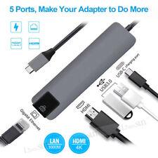 5 In1 Type C Hub to 4K Hdmi 2 Usb 3.0 Gigabit Ethernet Rj45 Multiport Adapter