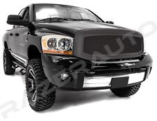 Front Hood Flat Matte Black Mesh Grille+Shell for 06-08 Dodge RAM 1500+2500+3500