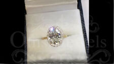 4.70ct Oval Moissanite Unique Engagement Wedding Fine Ring 14K Yellow Gold Over
