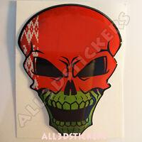 Pegatina Calavera Bandera Bielorrusia Adhesivo Relieve Coche Moto Skull 3D