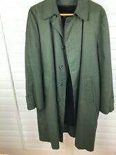 London Fog Mens Size 40L Trench Coat Olive Green Clipper Mill Plaid Overcoat