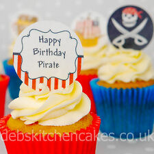 Pirate Cupcake Toppers - Pirate Cake Decorations- 4cm x 24 Wafer