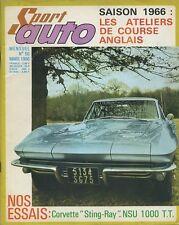 SPORT AUTO n°50 03/1966 MONTE CARLO CORVETTE 427 NSU 1000TTAVEC ENCART