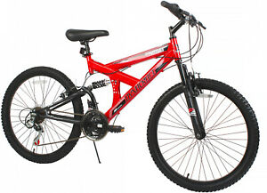 "24"" Gauntlet Mountain Bike Red 18 Speeds Dual Suspension Front And Rear V-Brakes"