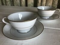 2 Sets Noritake Dawn Japan China White Gold Trim Footed Cup Saucer 5930 Vintage