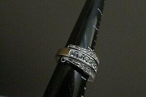 Avon vintage Reversible Flip Crystal rhinestone Ring - - Size 6.5