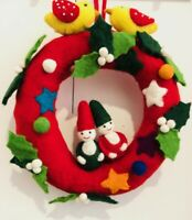 Handmade Christmas Wreath Designs Holiday Felt Fabric Room/ Door Decor