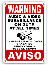 Surveillance signs Warning Security cctv sign Audio Video Camera Spanish English