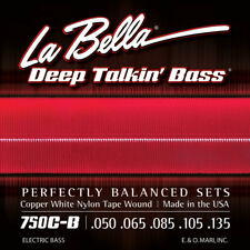 La Bella 750C-B Deep Talkin' Bass Copper White Nylon Tape Wound Bass Guitar Stri