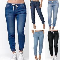 Oversize Women Elastic Waist Casual Jeans Denim Pants Drawstring Long Trousers