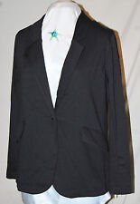 SERENA WILLIAMS BLACK 1 BUTTON EDGY ZIPPERED SLEEVES LINED LARGE LINED POCKETS