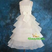 Peral Embossed Flower Girl Tiered Dress Wedding Bridesmaid Party Ivory Sz 8 #135