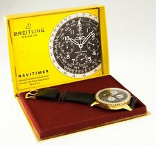 Vintage Gold-Plated Breitling Navitimer Chronograph Watch 806 w/ Box and Papers