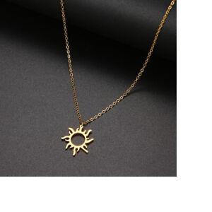 ❤️ Halskette mit Anhänger ☀️ Sonne Kette in Gold Neu