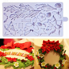 Molde de Silicona Flores Navidad Fondant Pastel Sugarcraft Hornear Molde de hojas de árbol