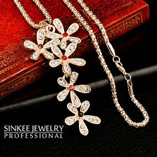 Charm Multicolor Rhinestone Flowers Long Pendant Necklace Chain For Women Lady
