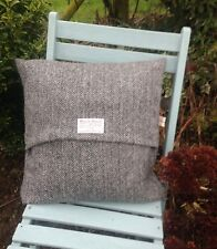 "HARRIS TWEED CUSHION COVER 16"" X 16"" BLACK AND GREY HERRINGBONE"