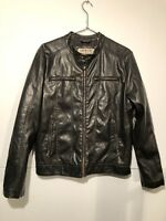 LEVI'S Faux Leather Cut Racer Men's Jacket Size M Full Zip Banded Neck With Snap