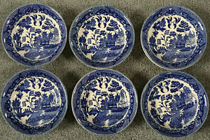 Lot of 6 Antique Pottery China BLUE WILLOW Berry Dessert Bowls marked Japan