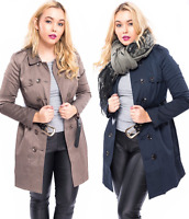 Ladies Womens Trench Mac Jacket Double Breasted Buckle PU Leather  Belted Coat